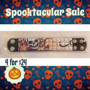 Jewelry - Skull & flower thick bracelet cuff